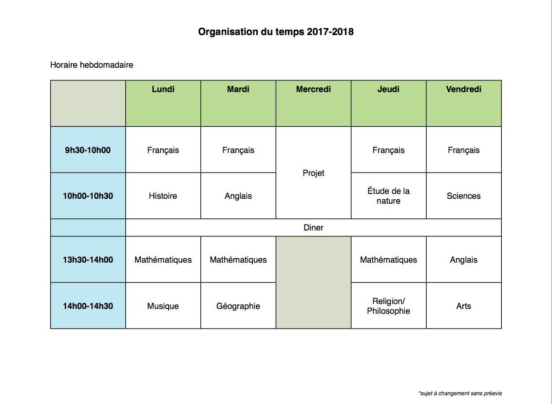schedule, horaire