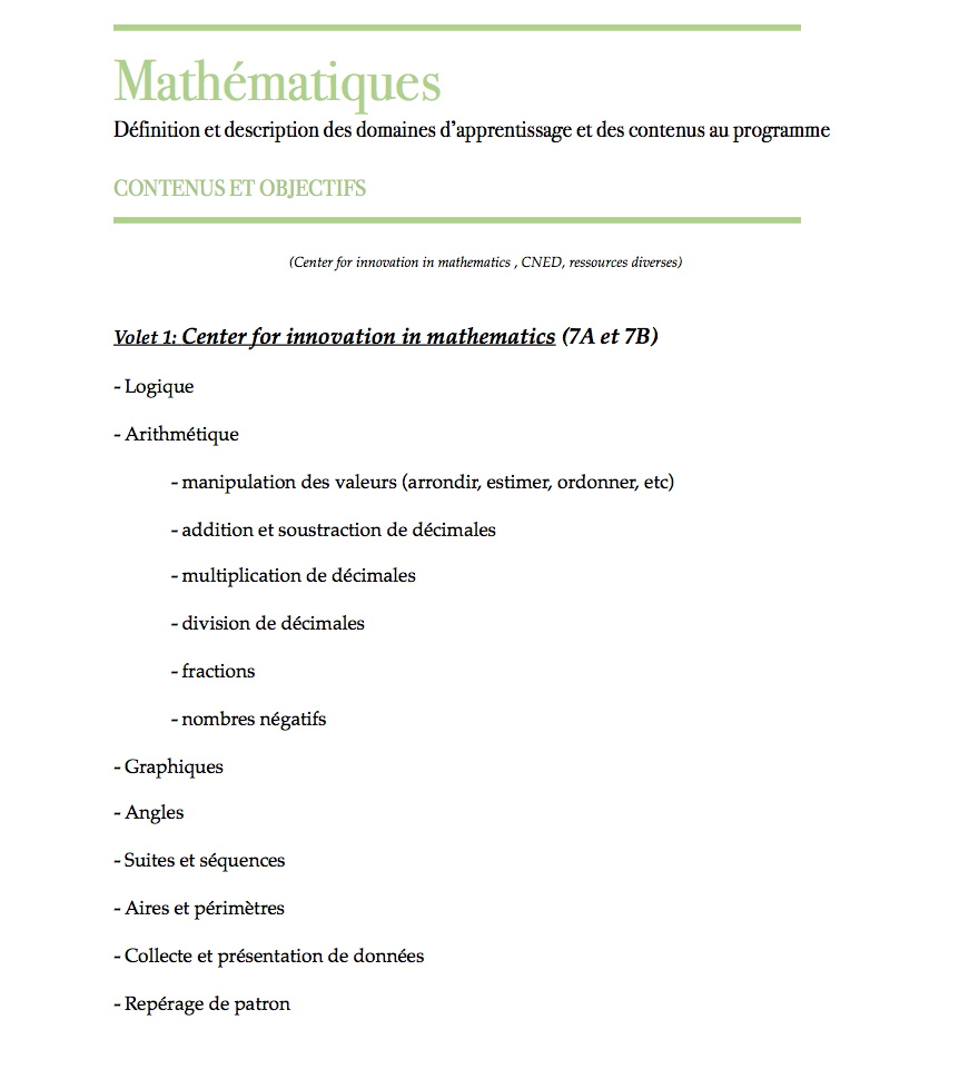 elementary plan, planification primaire