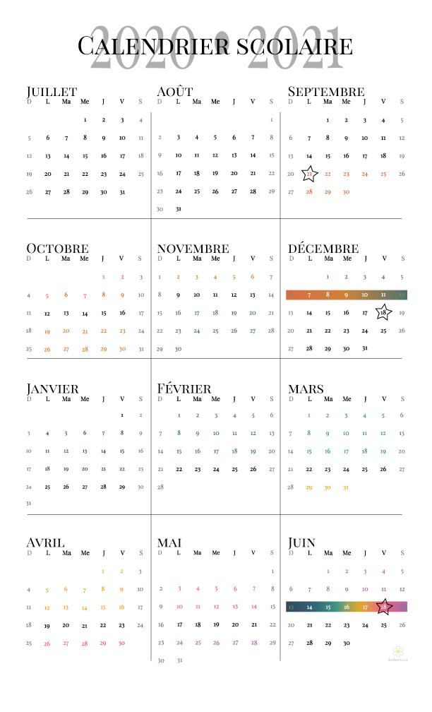 calendrier scolaire, 2020-2021, école-maison